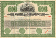 Seaboard-All Florida $5000 bond certificate specimen (horizontal)