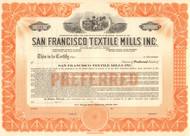 San Francisco Textile Mills Inc. stock certificate circa 1925