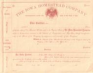 Iowa Homestead Company stock certificate circa 1864