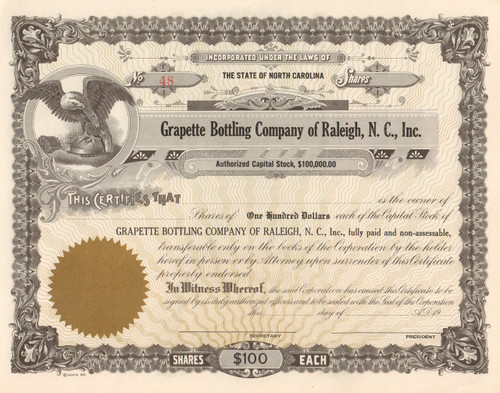 Grapette Bottling Company stock certificate 1960\'s (Raleigh NC plant)