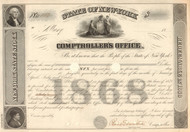 State of New York Comptroller's Office stock certificate 1868