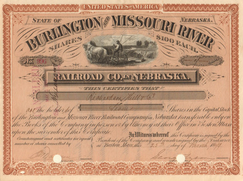 Burlington and Missouri River Railroad Co. in Nebraska stock certificate 1879