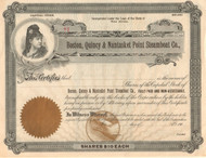 Boston, Quincy, & Nantasket Point Steamboat Company  stock certificate circa 1901