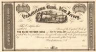 Hackettstown Bank, New Jersey stock certificate 1850's