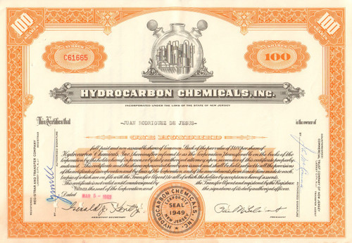 Hydrocarbon Chemicals Inc. stock certificate 1963