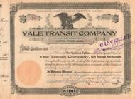 Yale Transit Company stock certificate 1921