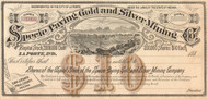 Specie Paying Gold and Silver Mining Company stock certificate circa 1881