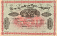 Riverside Iron and Coal Company stock certificate circa 1877 (Pennsylvania)