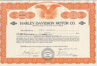 Harley Davidson Motors stock certificate 1962.  William H Davidson as president.