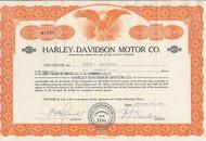 Harley Davidson Motors stock certificate 1962.  William H Davidson as president.