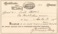 St Louis, Kansas City, and Northern Railway Company stock certificate 1875 (Missouri)