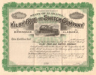 Kilby Frog and Switch Company stock certificate circa 1902 (Alabama)