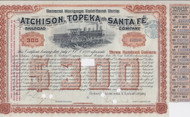 1894 Atchison, Topeka, and Santa Fe Railroad Company Light Brown $300 issue