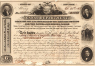 Canal Department, State of New York  bond certificate 1865