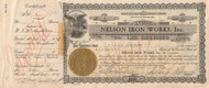Nelson Iron Works stock certificate dated Oct 29, 1929  (Black Tuesday)  - certificate number one