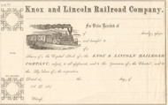 Knox and Lincoln Railroad Company stock certificate 1870's (Maine)