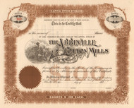 Abbeville Cotton Mills stock certificate 1920's (South Carolina)