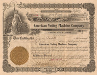 American Voting Machine Company stock certificate 1913 (Maine)
