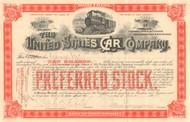 United States Car Company stock certificate 1894 (railway cars) - dark orange Preferred stock
