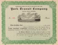 York Transit Company stock certificate circa 1911 (New York)