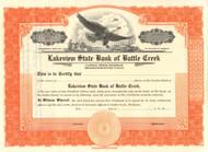 Lakeview State Bank of Battle Creek stock certificate circa 1926  (Michigan)