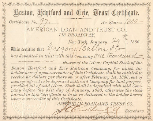 Boston Hartford and Erie Trust certificate circa 1886