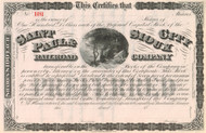 St. Paul & Sioux City Railroad Company stock certificate circa 1869
