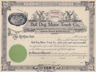Bull Dog Motor Truck Co stock certificate