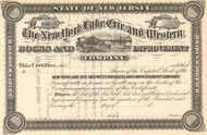 New York Lake Erie and Western Docks and Improvement Company stock certificate 1881 (New Jersey)
