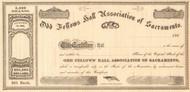Odd Fellows Hall Association of Sacramento stock certificate circa 1867  (California)