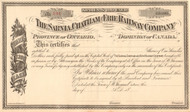 Sarnia Chatham and Erie Railway Company stock certificate circa 1876 (Canada)