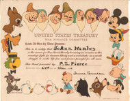 United States Treasury War Finance Committee Cert. dated 1944 (Disney)