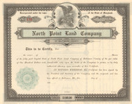 North Point Land Company stock certificate circa 1905 (Maryland)