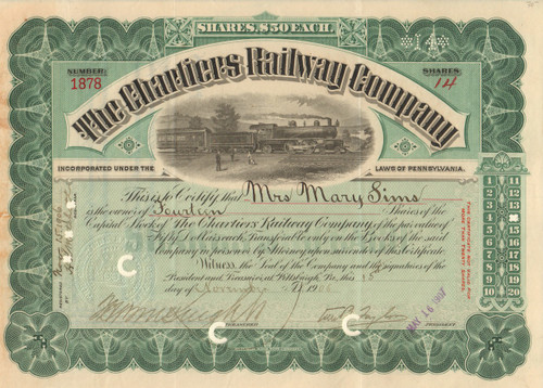 Chartiers Railway Company stock certificate 1906 (Pennsylvania)