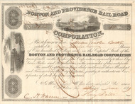 Boston and Providence Rail Road Corporation stock certificate 1849 (Massachusetts)