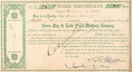 Green Bay and Lake Pepin Railway Company  stock certificate 1870 (Wisconsin)