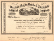 Fort Wayne Muncie and Cincinnati Railroad Company stock certificate circa 1869 (Indiana)
