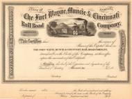 Fort Wayne Muncie and Cincinnati Railroad Company stock certificate circa 1869 (Indiana)