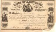 Bank of Kentucky stock certificate 1852 (KY)