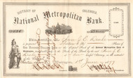 National Metropolitan Bank stock certificate 1877 (Washington DC)