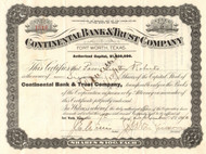 Continental Bank and Trust stock certificate 1900's (Fort Worth, Texas)