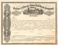Galena and Chicago Union Rail Road Company stock certificate 1860's (Chicago IL)