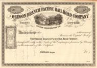 Oregon Branch Pacific Railroad Company stock certificate circa 1867 (Oregon)