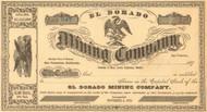El Dorado Mining Company  stock certificate circa 1875 (California)
