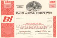Braniff Airways Incorporated stock certificate specimen (circa 1966)