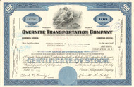 Overnite Transportation Company stock certificate 1970's (Virginia) - blue