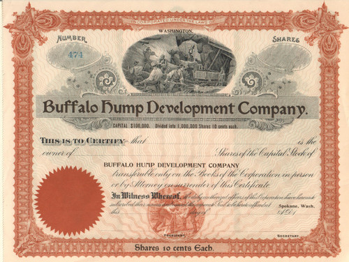 Buffalo Hump Development Company stock certificate (Washington)