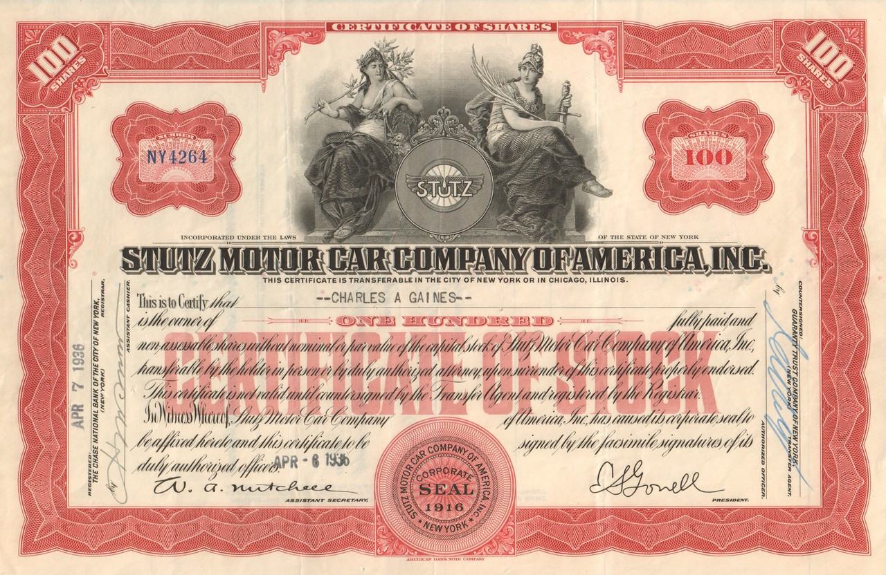 Stutz Motor Car Company Of America Inc Stock Certificate