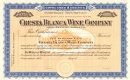 Cresta Blanca Wine Company stock certificate circa 1900 (California)