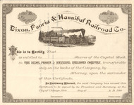 Dixon, Peoria, and Hannibal Railroad Co stock certificate 1880's (Illinois)